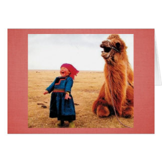Bauch-Lachen Kind u. Kamel Karte