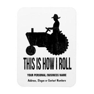 Bauer auf Traktor dieses ist wie ICH ROLLE Recchteckiger Magnet