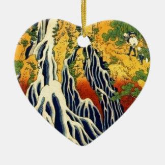 Bauern und Wasserfall Keramik Herz-Ornament