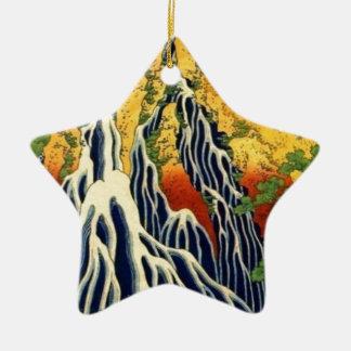 Bauern und Wasserfall Keramik Stern-Ornament