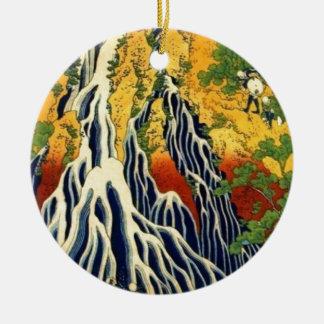 Bauern und Wasserfall Rundes Keramik Ornament