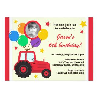 Bauernhoftraktor mit Ballon-Kindergeburtstag-Foto 11,4 X 15,9 Cm Einladungskarte