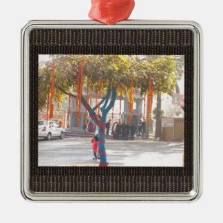 Baum-Dekorations-Indien-Kunsthandwerksfestival Quadratisches Silberfarbenes Ornament