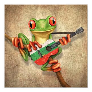 Baum-Frosch, der bulgarische Flaggen-Gitarre Quadratische 13,3 Cm Einladungskarte