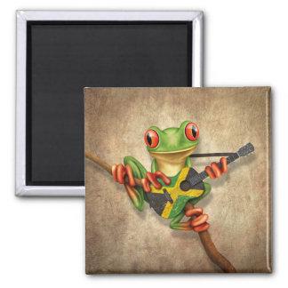 Baum-Frosch, der jamaikanische Flaggen-Gitarre Quadratischer Magnet