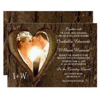 Baum-Herz-rustikale Hochzeit mit Ihrem Foto 12,7 X 17,8 Cm Einladungskarte