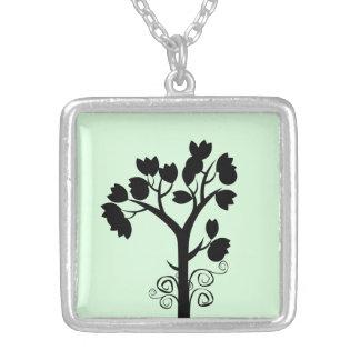 Baum-Liebhaber-Quadrat-Halskette Versilberte Kette