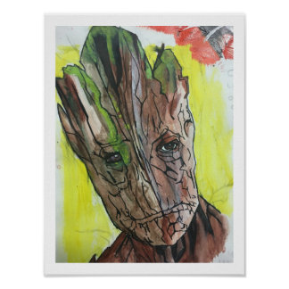 Baum-Mann-künstlerische Malerei Poster
