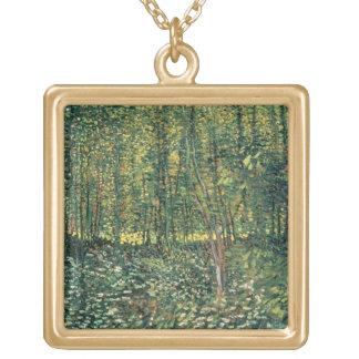 Bäume Vincent van Goghs   und Unterholz, 1887 Halskette Mit Quadratischem Anhänger