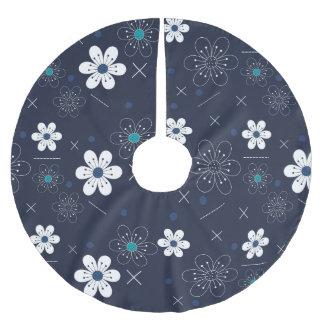 Baumrock WeihnachtsRetro blaue weiße Blume Polyester Weihnachtsbaumdecke