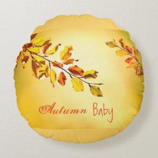 Baumwollbaby-Herbst-Baby-geborenes im September Rundes Kissen