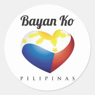 Bayan Ko Pilipinas, Herz-Flaggen-runder Aufkleber