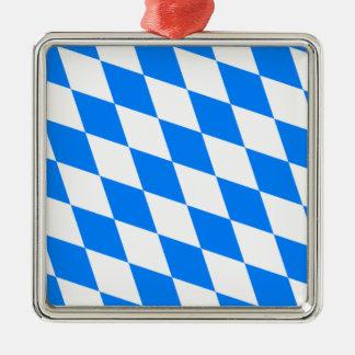 Bayerische Flagge - Bayerische Flagge Quadratisches Silberfarbenes Ornament