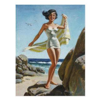 Beach PinUp Postkarte