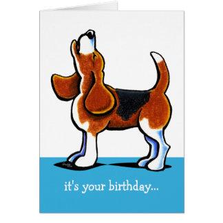 Beagle, der lustigen Geburtstag heult Grußkarte