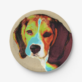 Beagle-Pop-Kunst Pappteller