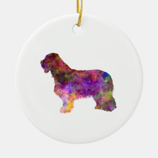 Bearded Collie im Watercolor Keramik Ornament