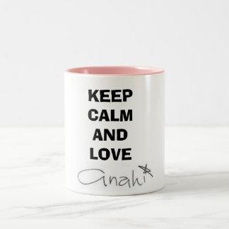 Becher Keep Calm and Love Anahí Zweifarbige Tasse