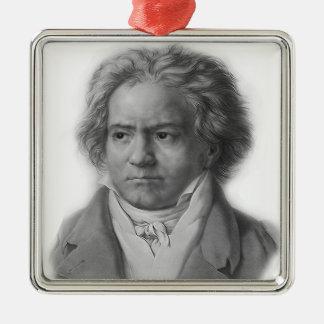 Beethoven Quadratisches Silberfarbenes Ornament