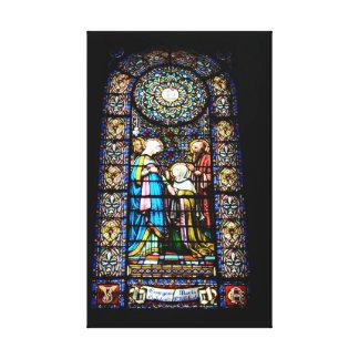 Beflecktes Glas im Montserrat-Leinwand-Druck Leinwanddruck