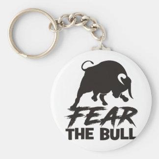 Befürchten Sie das Stier-Schwarze Schlüsselanhänger