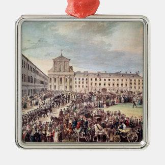 Begräbnis von Ludwig van Beethoven in Wien Quadratisches Silberfarbenes Ornament