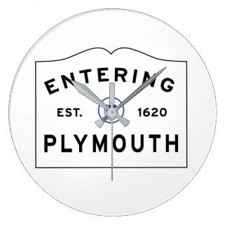 Begrüßen Sie zu Plymouth MA Große Wanduhr
