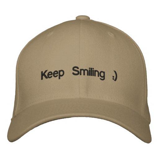 Behalten Sie das Lächeln:) gestickter Hut Bestickte Baseballkappen
