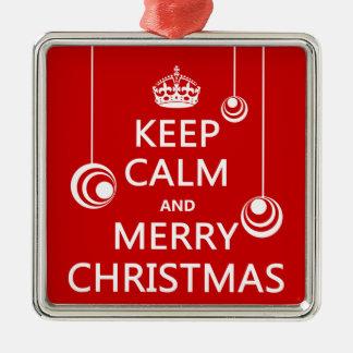 Behalten Sie die ruhigen und frohen Weihnachten Silbernes Ornament
