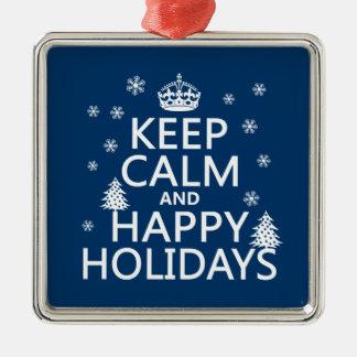 Behalten Sie die ruhigen und glücklichen Feiertage Silbernes Ornament
