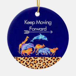 Behalten Sie die wilden Tiere vorwärts befördern, Rundes Keramik Ornament