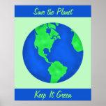 Behalten Sie es grün, Erdumwelt-Kunst-Gewohnheit Plakate