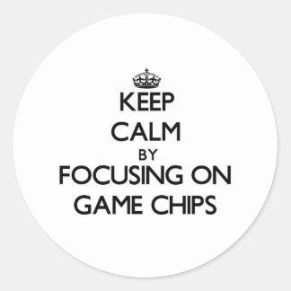 Behalten Sie Ruhe, indem Sie auf Spiel-Chips sich Runder Sticker