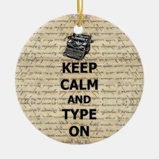 Behalten Sie Ruhe u. Art an Rundes Keramik Ornament