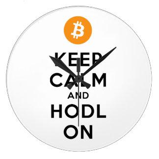 Behalten Sie Ruhe u. HODL auf Bitcoin Wand-Uhr Große Wanduhr