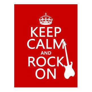 Behalten Sie Ruhe und Felsen auf (Gitarre) Postkarte
