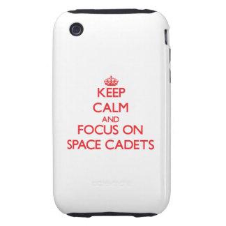 Behalten Sie Ruhe und Fokus auf Raum-Kadetten Tough iPhone 3 Hülle