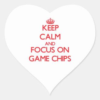 Behalten Sie Ruhe und Fokus auf Spiel-Chips Herzaufkleber