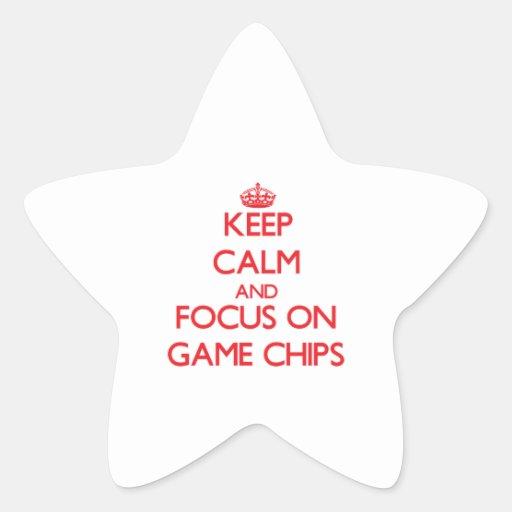Behalten Sie Ruhe und Fokus auf Spiel-Chips Sternaufkleber