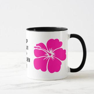 Behalten Sie Ruhe und Garten an Tasse