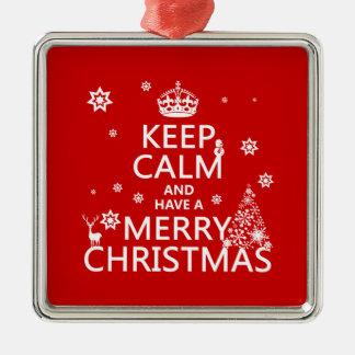 Behalten Sie Ruhe und haben Sie frohen Weihnachten Silbernes Ornament