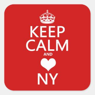 Behalten Sie Ruhe und Herz New York Quadratischer Aufkleber