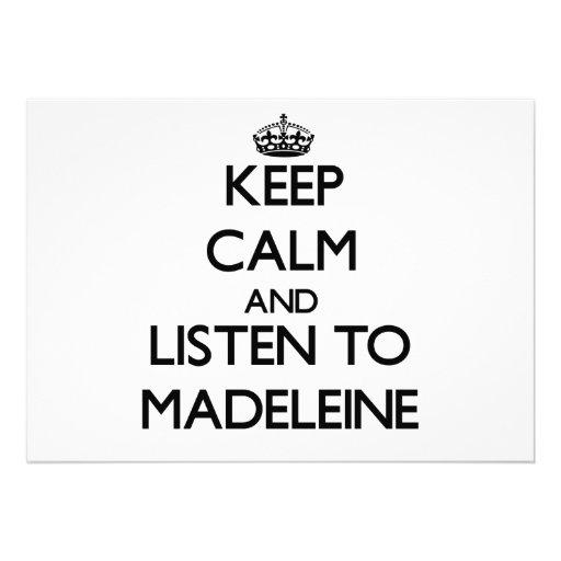 Behalten Sie Ruhe und hören Sie auf Madeleine Individuelle Ankündigungen