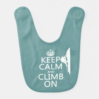 Behalten Sie Ruhe und klettern Sie auf Lätzchen