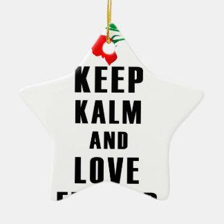 behalten Sie Ruhe- und Liebe-Blume Keramik Stern-Ornament