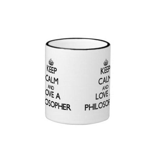 Behalten Sie Ruhe und Liebe ein Philosoph Tee Tassen