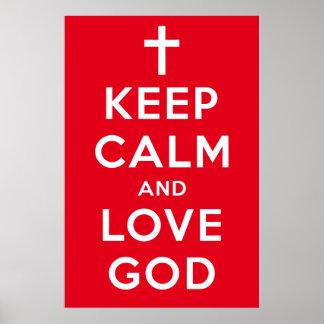 """Behalten Sie Ruhe-und Liebe-Gott-Plakat-Rot 24"""" x Poster"""
