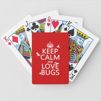 Behalten Sie Ruhe und Liebe hört ab (irgendeine Bicycle Spielkarten