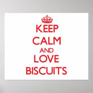 Behalten Sie Ruhe und Liebe Kekse Poster
