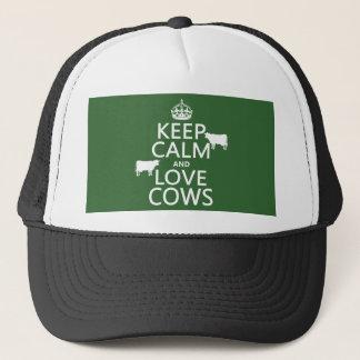 Behalten Sie Ruhe-und Liebe-Kühe (alle Farben) Truckerkappe